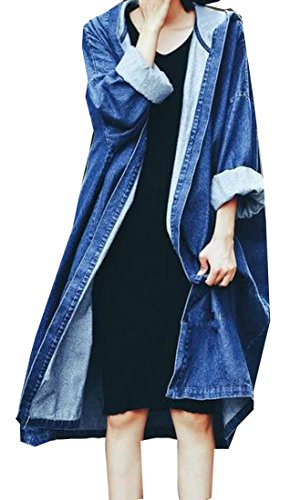 ARRIVE GUIDE Womens Open Front Hooded Plus Size Long UV Protect Denim Jacket Blue One Size (Womens Jimmy Jacket)