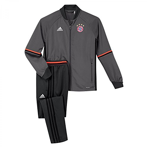 adidas Jungen FC Bayern München Trainingsanzug, Top:Granite/Solar Red Bottom:Solid Grey, 140
