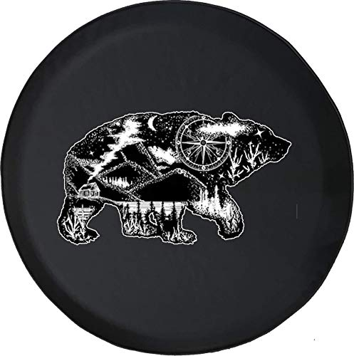 (556 Gear Grizzly Bear Compass Night Sky Mountain Cabin Jeep RV Spare Tire Cover Black 30 in)