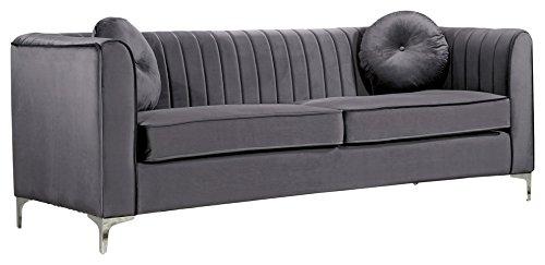 - Meridian Furniture 612Grey-S Isabelle Channel Tufted Velvet Upholstered Sofa with Custom Chrome Legs, Grey