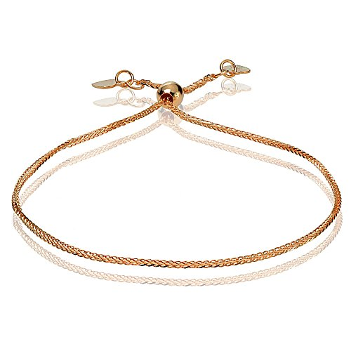 Bria Lou 14k Rose Gold .8mm Italian Spiga Wheat Adjustable Chain Bracelet, 7-9 Inches by Bria Lou