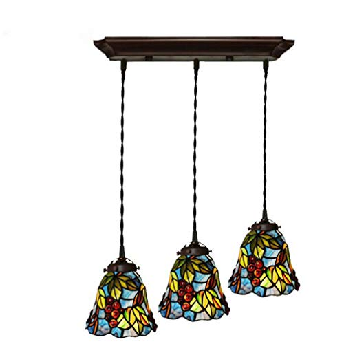 - Tiffany Style Mini Pendant Lighting 3 Head, Stained Glass Grape Pattern Shade Metal Fittings Ceiling Lights Hanging, 110-240V Chain Length Adjustable