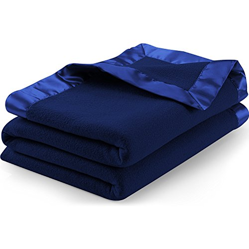 Utopia Bedding Sateen Polar Fleece Blanket with Sateen Ribbo