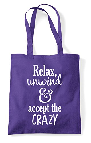 Only Shopper Unwind Statement Relax Bag Tote And Purple Text Crazy Accept The vYYHd