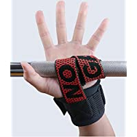 Hykes Silica Gel Heavy Duty Weight Lifting Straps, Pull ups Hand Grips with Padding Wrist Wraps,Wrist Protector for Weightlifting, Workout, Gym, Crossfit, Bodybuilding, MMA, Powerlifting, Strength Training for Men and Women