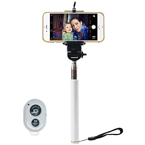 I-kool Selfie Stick, Quicksnap Pro 3-in-1 Self-portrait Monopod Extendable Wireless Bluetooth Selfie Stick with Built-in Bluetooth Remote Shutter with Adjustable Phone Holder for Iphone 6, Iphone 6 Plus, Iphone 5 - Market Fair Mall
