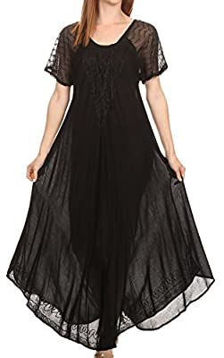 Sakkas Shasta Lace Embroidered Cap Sleeves Long Caftan Dress / Cover Up