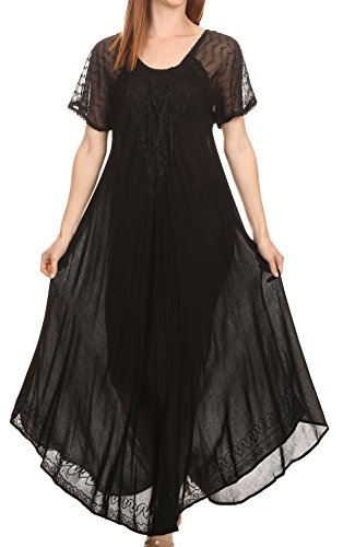 Sakkas 16602 - Shasta Lace Embroidered Cap Sleeves Long Caftan Dress/Cover up - Black - OS