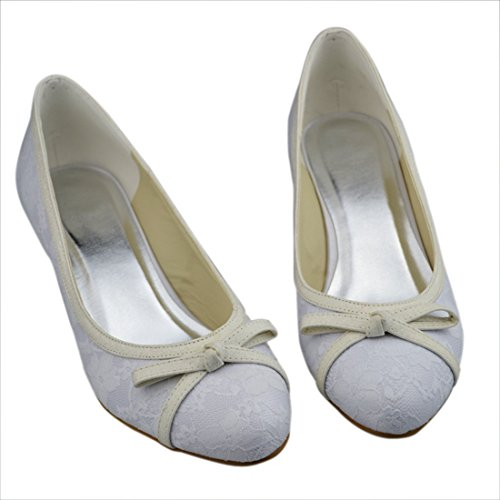 Minishion Party Evening White 5cm Wedding Kitten Bowknot Bridal Heel Heel Lace Shoes Womens rBqfr