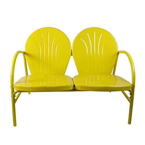 Rich Pacific Sunshine Yellow Retro Metal Tulip 2-Seat Double Chair