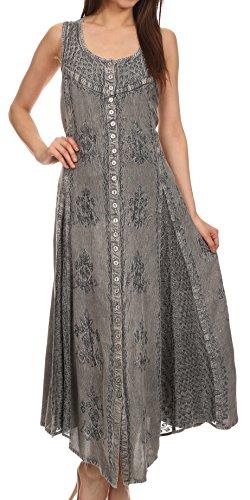 Sakkas 15230 - Beverlee Embroidered Button Down Sleeveless Caftan Dress - Grey - 1X/2X