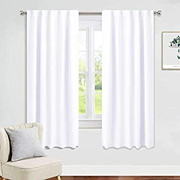PONY DANCE Window Curtain Panels - 42 W x 72 L Pure White Bedroom Drapes Room Darkening Blinds Back Tab & Rod Pocket Window Treatments Energy Saving Home Decor for Living Room, 2 Pieces