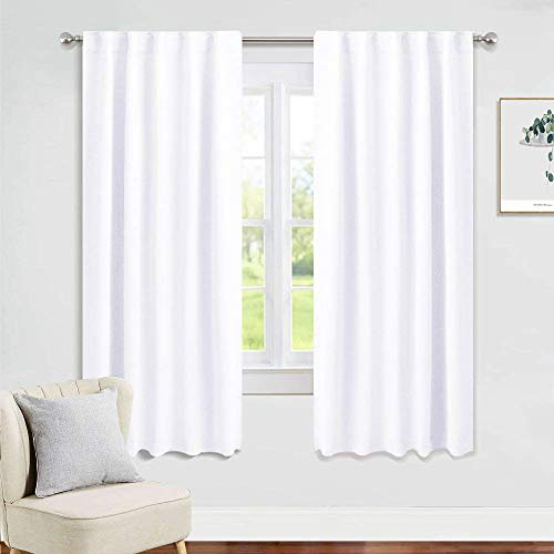 PONY DANCE Window Curtain Panels - 42 W x 72 L Pure White Bedroom Drapes Room Darkening Blinds Back Tab & Rod Pocket Window Treatments Energy Saving Home Decor for Living Room, 2 Pieces (White 72 Curtains Blackout)