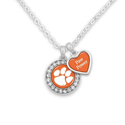 Clemson Tigers Logo and a Heart Shaped Charm Necklace Featuring Team Slogan (Necklace Heart Clemson)