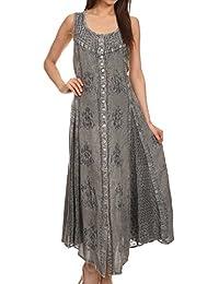 Sakkas Beverlee Embroidered Button Down Sleeveless Caftan Dress