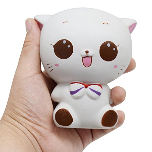 Slow Rising Squishy, Auwer 11.5CM Novelty Soft Cat Squeeze Jumbo Stretch Cream Scented Kawaii Vent Toy Relieve Stress Cure Kid Gift Phone Straps Chain Charm Collect Decor (A)