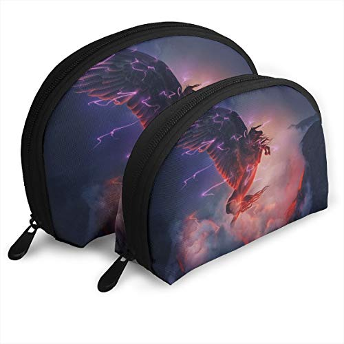 (Warm-Tone Galaxy Pegasus Big & Small 2 Pieces Pencil Bag Pen Case Multi-Purpose Storage Tools Canvas Bag Portable Travel Toiletry Pouch Cosmetic Makeup Bags with)