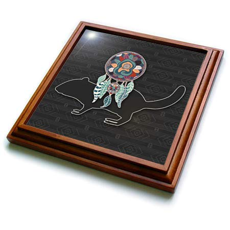 - 3dRose Doreen Erhardt Native American - Dream Catcher with a Beaver in a Native American Tribal Design - 8x8 Trivet with 6x6 ceramic tile (trv_304646_1)