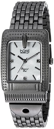 Burgi Women's Quartz Stainless Steel Casual Watch, Color:Grey (Model: BUR171GN)