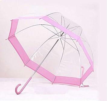 paraguas Setas reforzado transparente mango largo paraguas pájaro jaula paraguas sombrilla (Color : A)