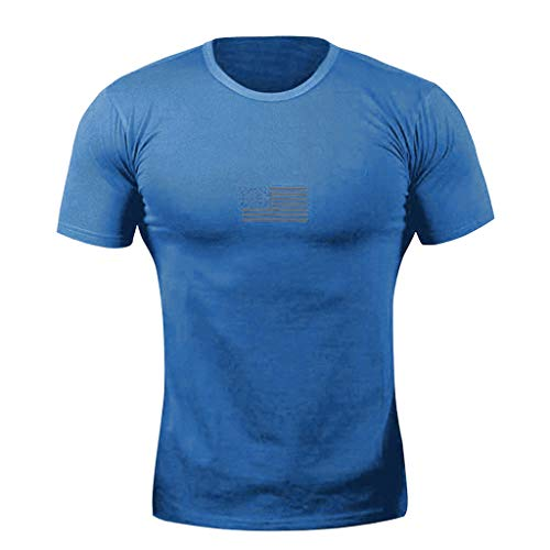 Tennessee Striped Shirt - OSTELY Fashion Tops for Men Casual Independence Day O-Neck Pure Color Striped Short Sleeve Sport T-Shirt(Blue,XL)