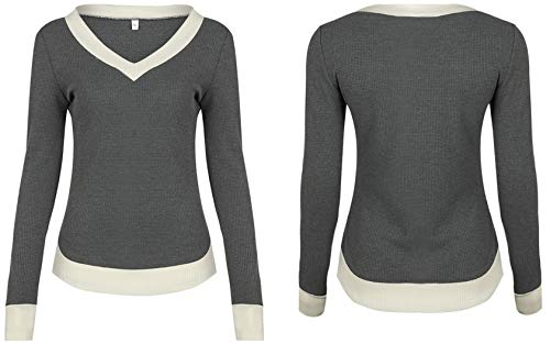 Jumper Mode Sweater Automne Chandail Femmes Slim et Gris Pullover Shirts Casual Haut V Longues Hiver T Pulls Blouses Col Patchwork Tops Manches ZCxqIpTCw