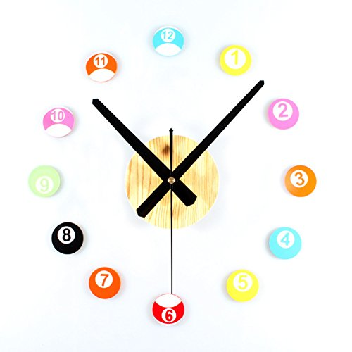 Table tennis clock Fashion creative diy clock Stereo table ball combination mute wall clock-B