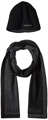 Calvin Klein Men's Contrast Border Scarf With Solid Hat