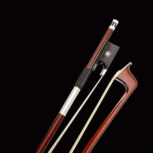 バイオリンの弓 ブラジルSUMUバイオリンの弓4/4丸棒ボウ74センチメートルシベリアホワイトスギナナチュラルエボニーフロッグフルサイズのスムース (色 : 褐色, サイズ : 4/4)