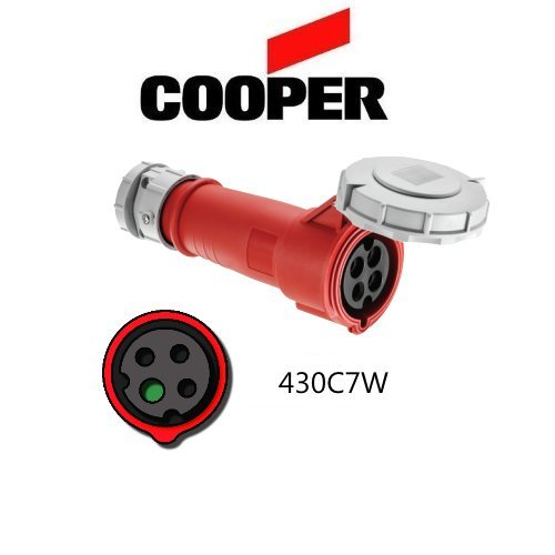 - IEC 309 430C7W Connector, 30A, 480V, 3 Pole, 4 Wire, Watertight, Red - Cooper # AH430C7W
