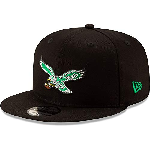 New Era Philadelphia Eagles Hat NFL Black Team Color Historic Logo 9FIFTY Snapback Adjustable Cap Adult One Size