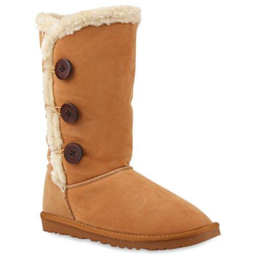 Damen Schlupfstiefel Warm Gefütterte Stiefel Schleifen Ketten Nieten Print Schuhe Blumen Pailletten Winter Boots Flandell Hellbraun Knöpfe