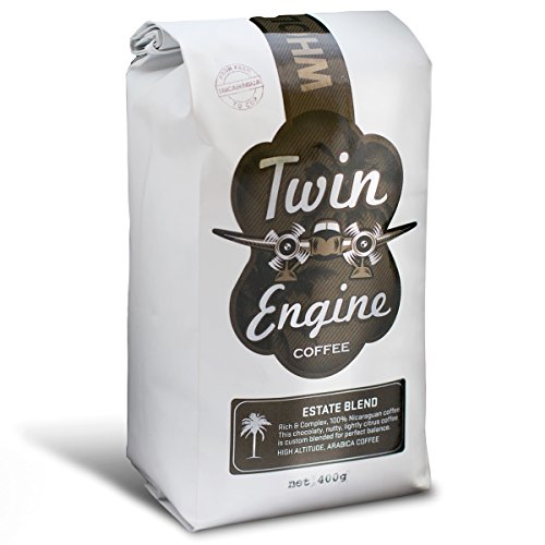 Twin Engine Coffee ESTATE BLEND - Dark Roast, Whole Bean, Nicaraguan Coffee, 400g 14.1oz | Rich Specialty Grade Coffee packaged at the source | Nicaragua's Coffee