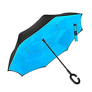 Double Layer Inverted Umbrella Cars Reverse Folding Umbrella, Windproof UV Protection Big Straight Umbrella for Car Rain Outdoor With C-Shaped Handle and Carrying Bag (blue)