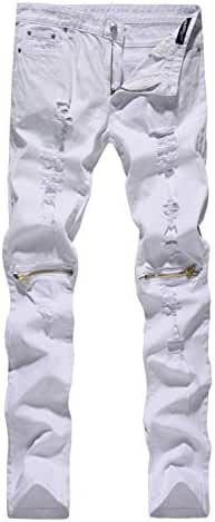 NITAGUT Men's Skinny Ripped Distressed Destroyed Slim Straight Fit Zipper Jeans With Holes