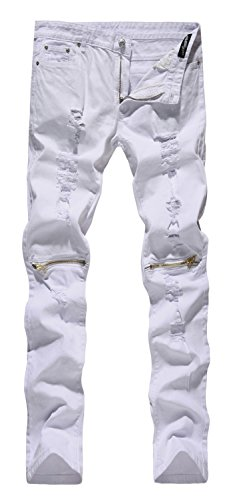 - NITAGUT Men's Skinny Ripped Distressed Destroyed Slim Straight Fit Zipper Jeans with Holes (38W, White)