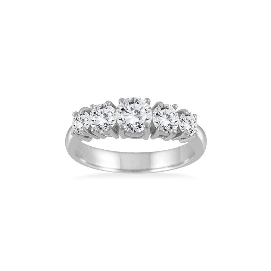 AGS Certified 1 1/4 Carat TW 5 Stone White Diamond Ring in 14K White Gold