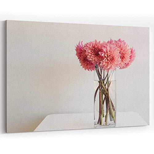 - Pink Dahlias in Glass vase on Table Canvas Wall Art Home Decor Stretched-Framed Ready to Hang
