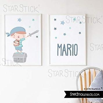 Pack de 2 láminas de cuadro decorativas para bebé personalizadas - Súper niño pirata + Lámina con nombre - A4-210 x 297 mm