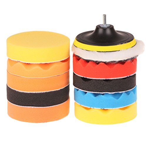 SPTA 12pcs 4in/100mm Foam Buffing Polishing Pads with Drill Adapter Kit for Car Polisher- Sanding Polishing Buffing--5/8'-11 Thread (USA Thread)