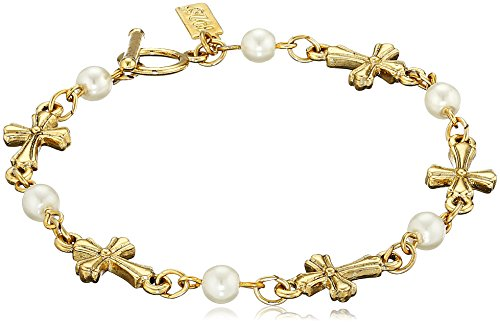 Symbols of Faith 14k Gold-Dipped Simulated Pearl Cross Toggle Bracelet, 7.25