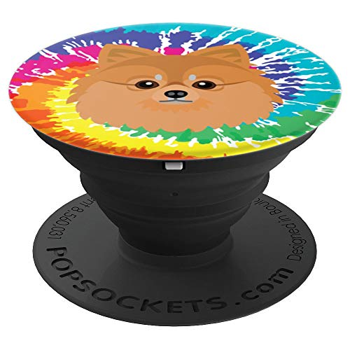 (Pomeranian Tie-Dyed Pom Mom I Love Pomeranians - PopSockets Grip and Stand for Phones and Tablets)