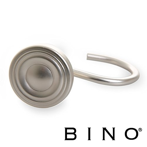 BINO Shower Curtain Hooks - Brushed Nickel, Set of 12 Shower Curtain Rings - Shower Hooks for Curtain Shower Rings (Shower Curtian Hooks)