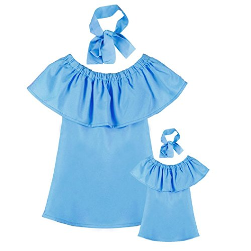 Sunbona Mommy and Me Baby Girl Fashion Solid Off Shoulder Tuffled A-Line Princess Dress Casual Summer Family Clothes Outfits
