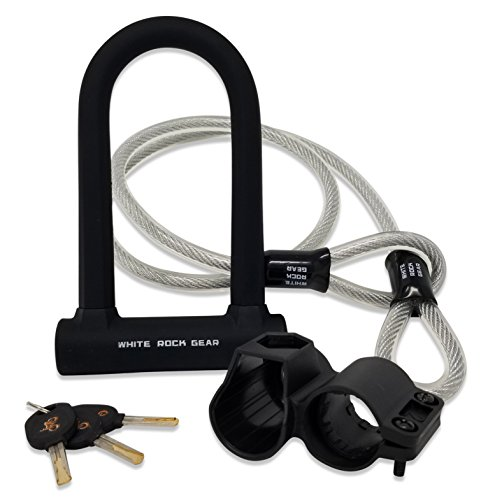 White Rock Gear Bike U Lock with Cable - Heavy Duty 16mm Bicycle Lock with 45
