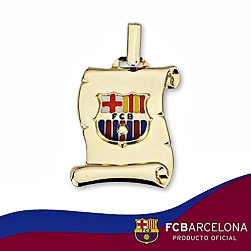 Parchemin pendentif bouclier F.C. Barcelona 18k or fin émaillé moyen [6512GR] - Modèle: 10-040 - personnalisable - ENREGISTREMENT INCLUS DANS LE PRIX