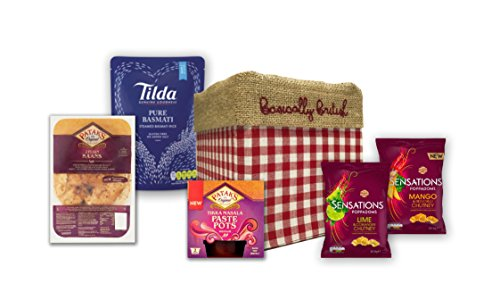 Spice it up! Indian cuisine kit - Patak's, Tilda, Poppadoms packed in Basically British Gift Box