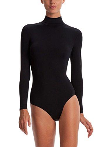 Body Wrappers BWP201 Womens Zip Back Mock Turtleneck Leotard - Medium, Black