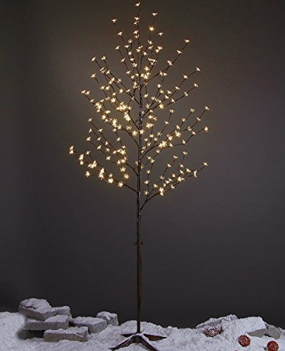 Lightshare 6 Feet Cherry Blossom Lighted Tree, 208 LED lights, Warm White, For Christmas Tree, Party, Wedding, and More Festival Deoration (White Cherry Tree)