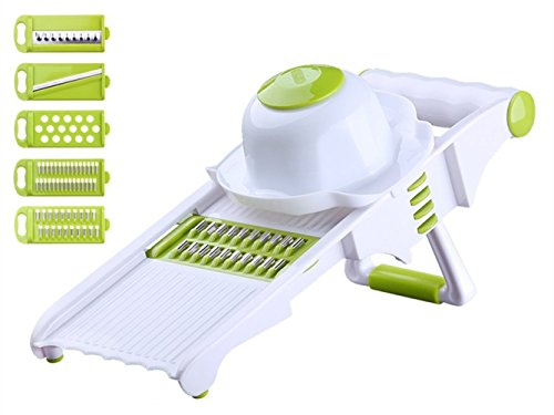 chen Gadgets, Best Vegetables Grater Fruit Cutter to Slice, Shred, Julienne and Waffle Cuts- with 5 Interchangeable Blades and Safe Guard- Green+White BY RUIYE ()